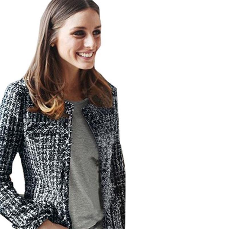 Женская мода пальто осень зима тонкий черный клетчатый Tweed повседневная клетчатая куртка верхняя одежда FS0273 201210