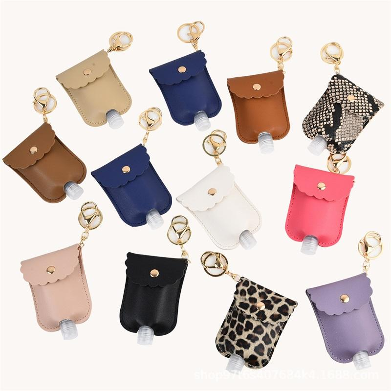 30ML Leather Hand Sanitizer Holder Keychain PU Leopard Snake Lace Key Ring Solid Color Lady Key Buckle Pendants With Bottle 5 5jf G2