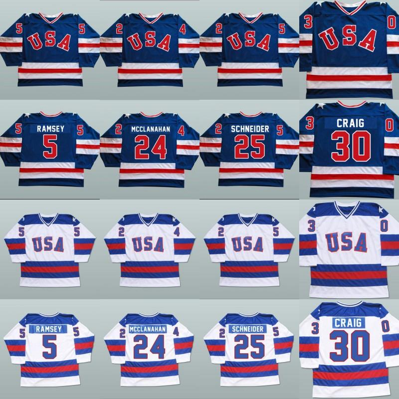1980 Milagre em Jerseys de Hóquei no Gelo 5 Mike Ramsey 9 Neal Broten 25 Buzz Schneider 100% Stitched Equipe EUA Hóquei Jersey