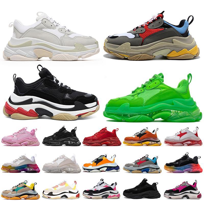 2020 balenciaga triple s 20fw tasarımcı ayakkabı erkekler kadınlar için vintage sneakers siyah beyaz Yetiştirilen yeşil lüks erkek eğitmenler büyük sole spor sneakers