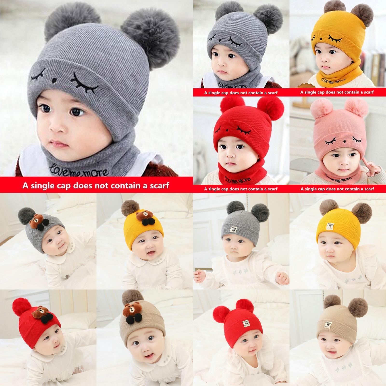 Children Hat Toddler Kids Baby Warm Winter Wool Hat Knit Beanie Neck warmers Baby Boys Girls 3 months to 2 years old