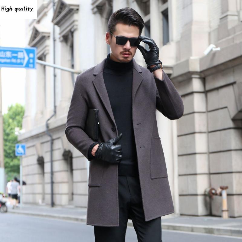 Double Hombre Paño Cashmere Abrigo Masculino Qiu Dong Han Edición Cultivar la moralidad Larga capa de polvo en los hombres 2020
