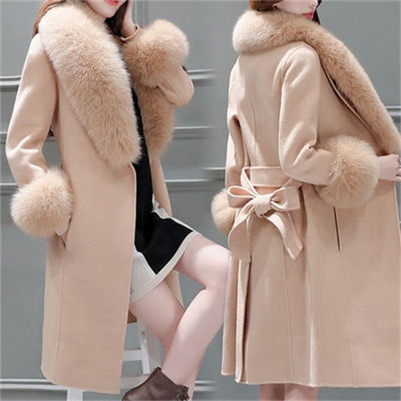 Abrigo de lana Abrigo de invierno Mujeres Versión coreana de la autocultivo Cuello de piel grande Chaquetas de lana de lana Parka LJ201110