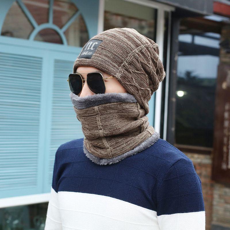Sonbahar ve kış moda sıcak kapak kap erkek yün iki parçalı yaka kadife kulak koruma şapka ile set