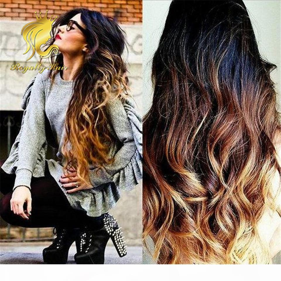 Full Lace Wig 3 tone ombre weaves 1b 4 27 Glueless full Short Lace Wigs Brazilian Human hair Front Lace Wigs for Black Women