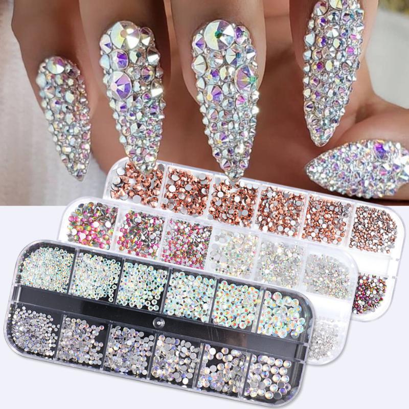 1440pcs Colorful Crystal Stones Nail Rhinestone Diamond 3D Flatback Glitter Strass Gems Nail Art Decorations Accessories TR1831