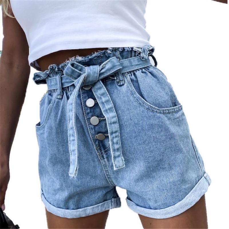 Rodado HEM Denim Shorts Mujeres Pocket Elástico Alto Cintura Jeans Pantalones cortos Summer Casual Flojo Legis Legas Straight Ladies Belted Jean