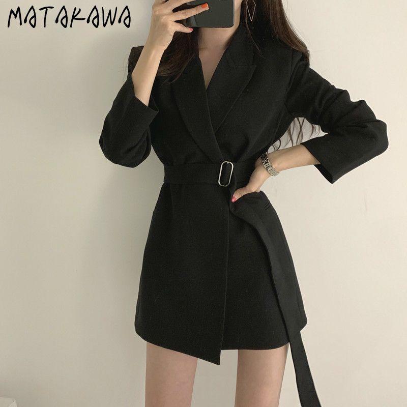 Matakawa sueltos instablecidos mediados dedo mujeres blazers chic primavera otoño con muescas traje blazer retro correa coreano casual mujer abrigo