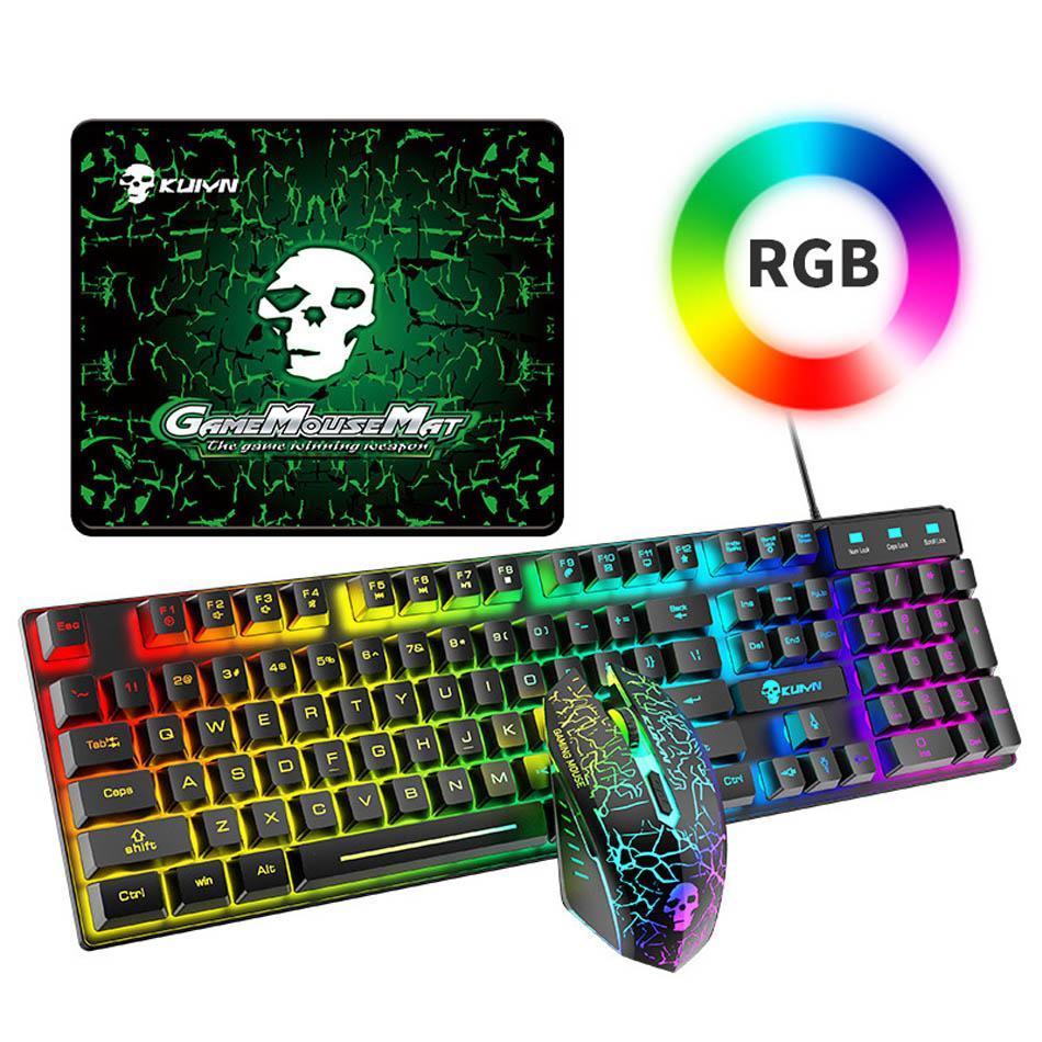 T6 RGB Gaming Keyboard Mouse Combos retroillit Colorful Light Ergonomico Meccanico Meccanico Meccanico Game Wired Tope Tastiere set per computer portatili Computer