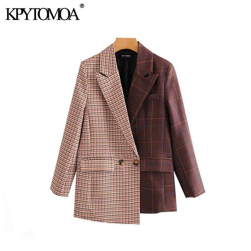 Vintage Şık Patchwork Ekose Düzensiz Blazer Coat Kadınlar 2020 Moda Çentikli Yaka Uzun Kollu Kadın Giyim Şık X1214 Tops