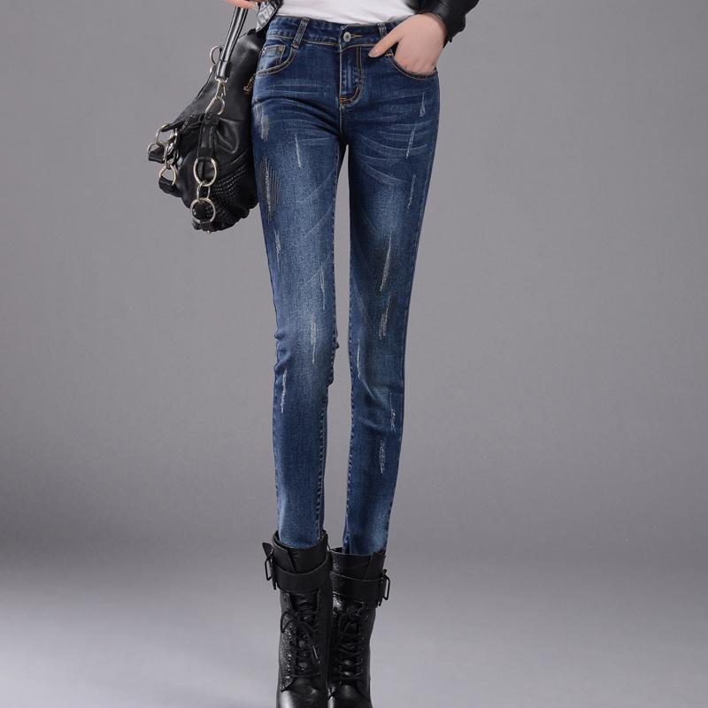 Pantaloni da donna jeans in vita lavato a vita stretch paragrafo casual di grandi dimensioni significativamente sottili piedi matita pantaloni marea