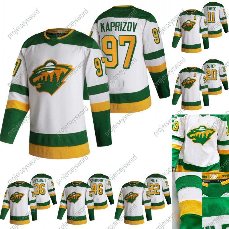 Minnesota Wild Kevin Fiala 2020-21 Reverse Retro Hockey Jersey Kirill Kaprizov Mikko Koivu Zach Parise Jason Zucker Ryan Suter Devan Dubnyk