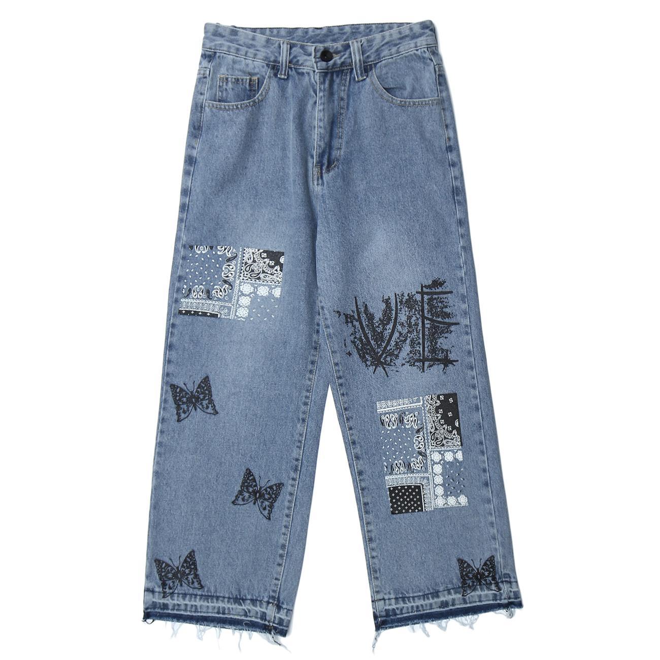 Vintage Denim Patchwork Butterfly Stampa Streetwear Jeans Harajuku Hip Hop Pantaloni da uomo Pantaloni da uomo Jogger