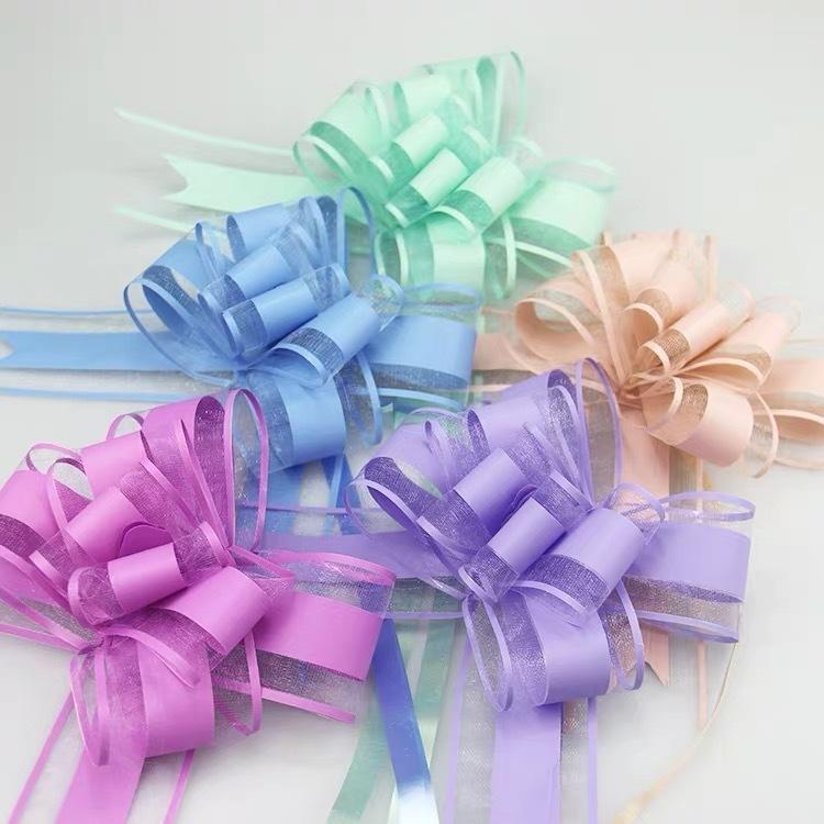 100шт среднего размера 30 мм сплошной цвет серебристый / черный / бежевый потяните лук ленты подарок упаковка цветок лук узел вечеринка свадьба автомобиль декор Y201006
