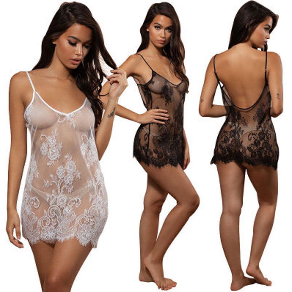 Femmes dentelle sexy lingerie de nuit sous-vêtements g-string babydoll vêtement de nuit