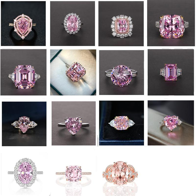 2021 New Luxury Fashion 925 Sterling Silver Pink Engagement Wedding Band Eternity Ring for Women Christmas Gift Love jewelry