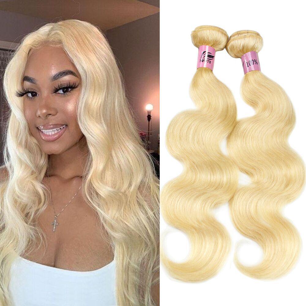 Nami Hair 613 блондинки бразильские человеческие пакеты волос плетение с закрытием блондинка прямая волна тела человеческих ременных волос наращивание волос