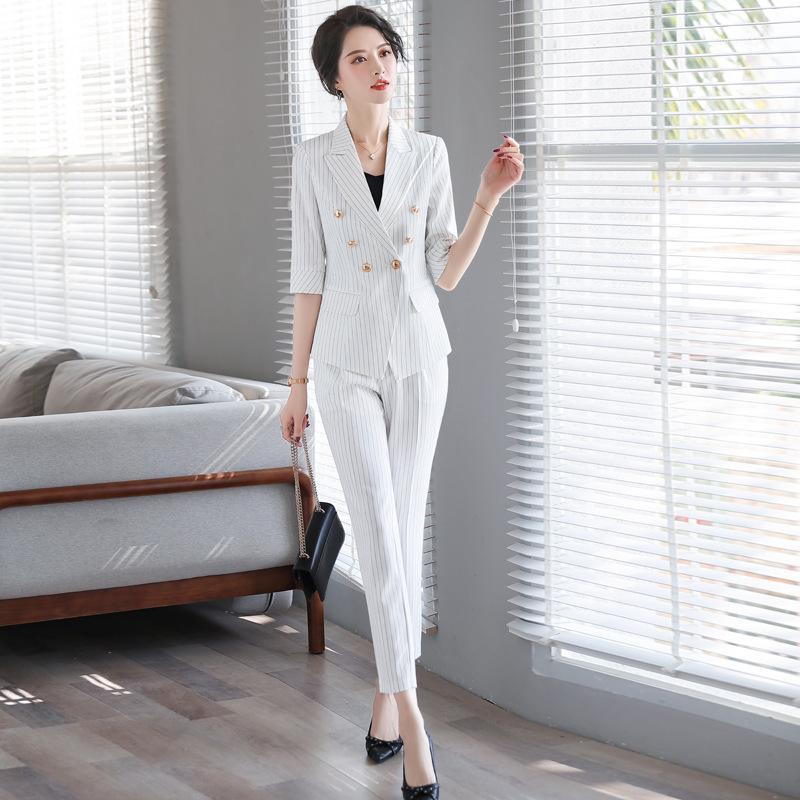 Женские брюки женские пружины профессиональные женские костюмы женские женские повседневные полосатые элегантные дамы блейзер куртка стильный офис набор