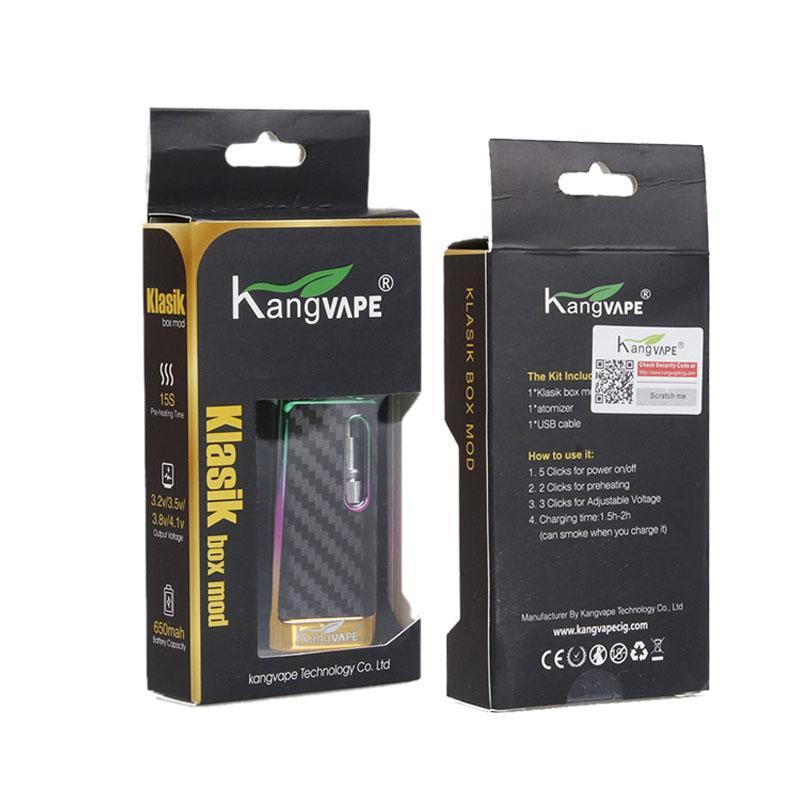 DHL Original Kangvape Klasik V2 Kit de 650mah Batterie de préchauffage avec bobine en céramique de 0,5 ml cartouche d'huile d'huile de vape coiffe de coiffe mod 100% authentique