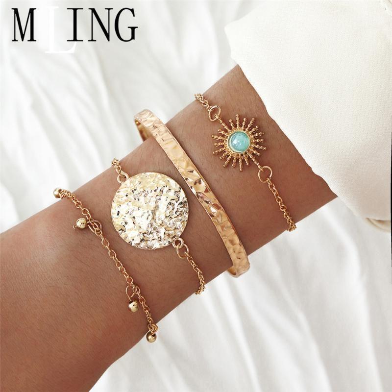 MLING 4 Pcs/Set Vintage Gold Alloy Bracelet Fashion Sun Flower Geometric Circle Beads Bracelet for Women1