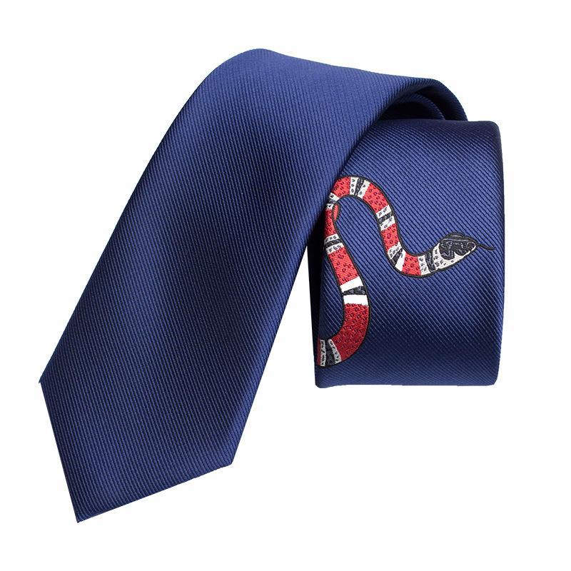 2020 Дизайнер Европа и Америка Новые мужские модные персонализированные вышивки коралловые змеи формальный бизнес профессиональный досуг галстук