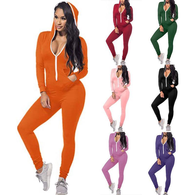 Donnette Designer Designer Sexy Sexy Solid Color Personalizza Zipper con cappuccio Fall Casual New Fashion One Piece Pantaloni da donna Pagliaccetti