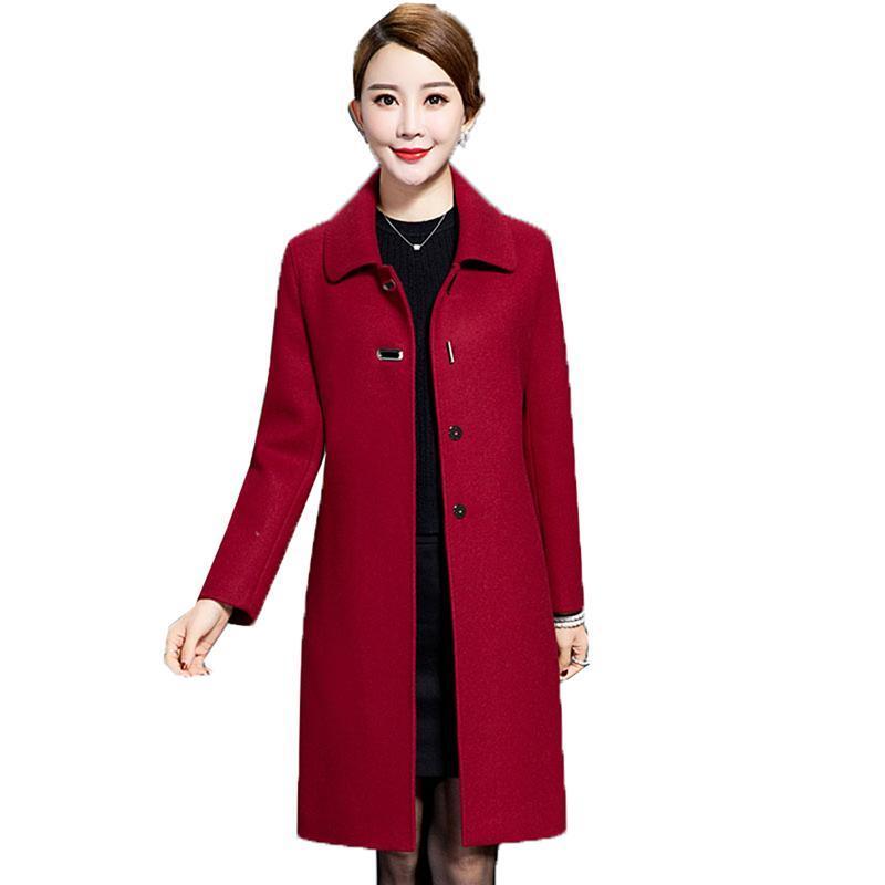 النساء الصوف يمزج جودة عالية معطف الصوف منتصف العمر المرأة سترة 2021 الخريف الشتاء طويلة الأكمام قميص زائد الحجم 4xl اللباس الأم