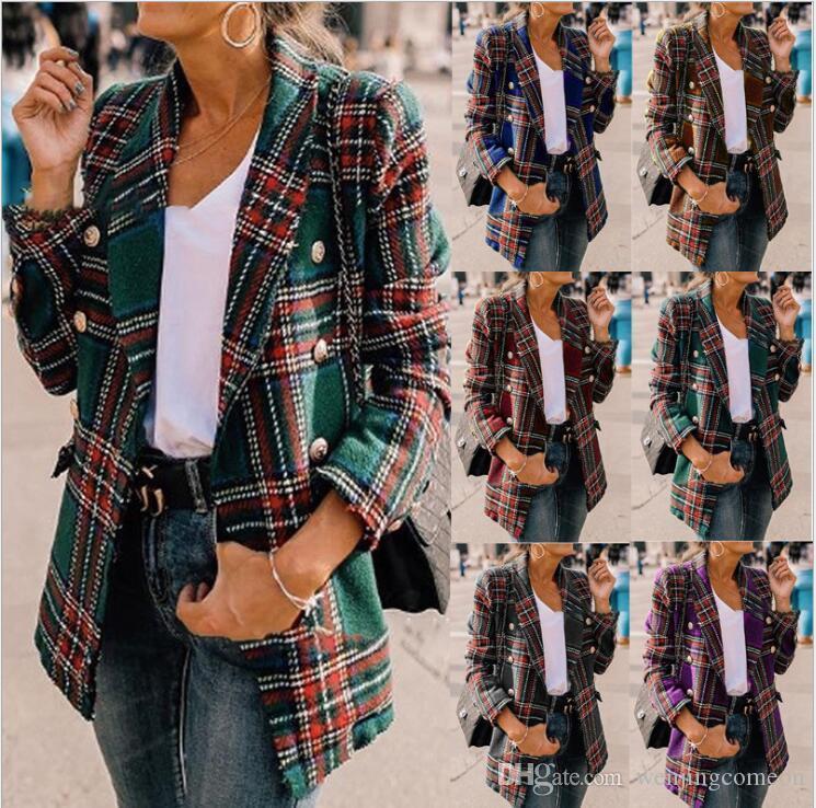 Vintage Kruvaze Yıpranmış Kontrol Tüvit Ceketler Moda Kış Kadın Cepler Ekose Bayanlar Giyim Rahat Femme Ceketler CHE