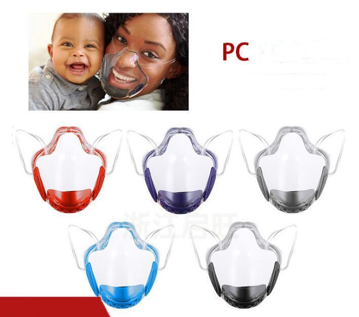 Dudak Dili PC Yüz Maskeleri Sıçrama Geçirmez Yüz Kalkanı Şeffaf Yüksek Temizle Katı Yüz Maskeleri DHL tarafından