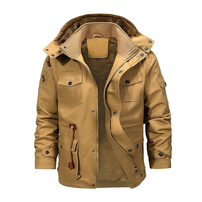 Novo estilo algodão acolchoado roupas soltas gola de gola de desgaste médio longo casaco dos homens jovens