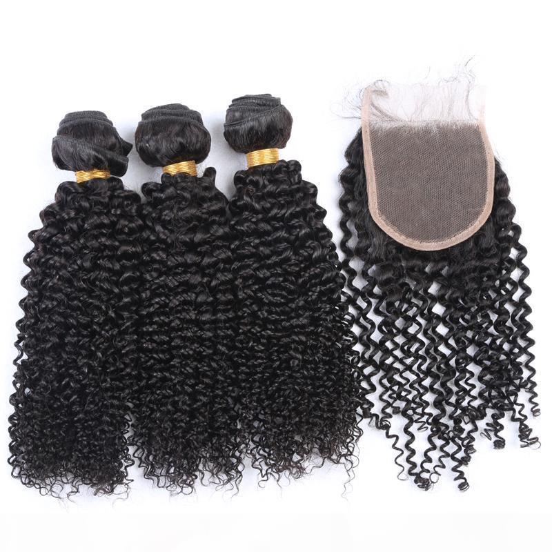 Cheveux humains brésiliens avec fermeture Couleur naturelle Kinky Curly Hair Weave avec la fermeture supérieure 4x4 Free Middle Trois Fermetures Bundles