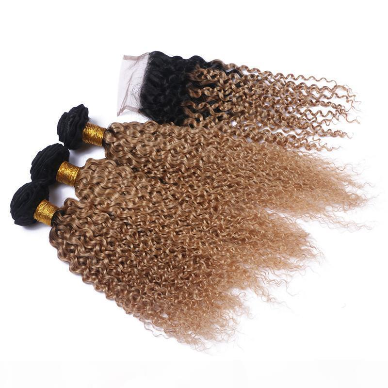Kinky encaracolado loira ombre 4x4 laço fechamento com pacotes # 1b 27 mel loira ombre wafts de cabelo humano ombre com fecho 4 pcs lote
