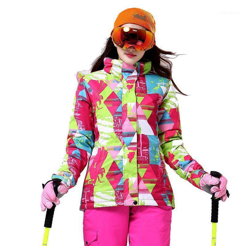 Juego de esquí de alta calidad para mujer Super cálido Chaqueta de esquí a prueba de viento a prueba de viento A prueba de viento Snowboarding Chaqueta de snowiing de invierno *