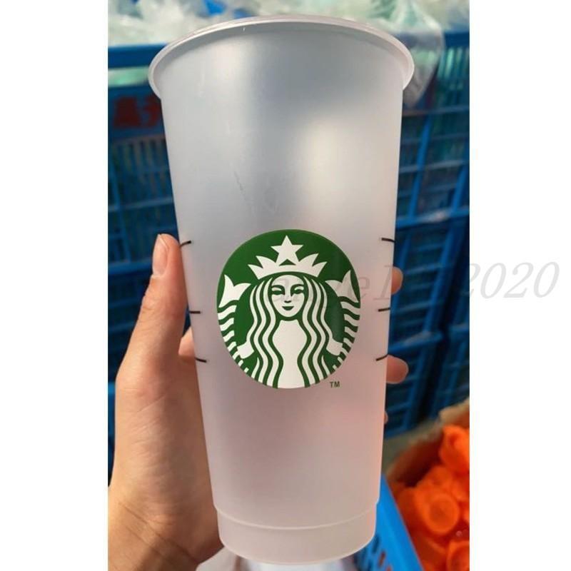 Starbucks 24oz / 710ml Plastik-Tumbler wiederverwendbarer klarer trinkender flacher unterer Tasse Säulen-Form-Deckel-Stroh-Becher Bardian 25pcs DHL-freies Verschiffen
