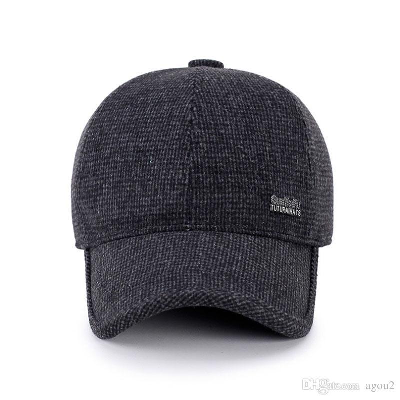 2021 Best Suogry Laine Senteuse Capable de baseball Russie Chapeaux d'hiver Russie avec une toison à l'intérieur et des bouchons d'oreilles chapeaux de baseball masculin vintage