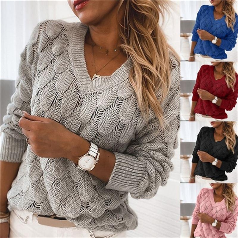 Зимняя сексуальная Deep V-образным вырезом вязаные свитера женские длинные рукава сплошные свитеры Femme осенние новинки свитер