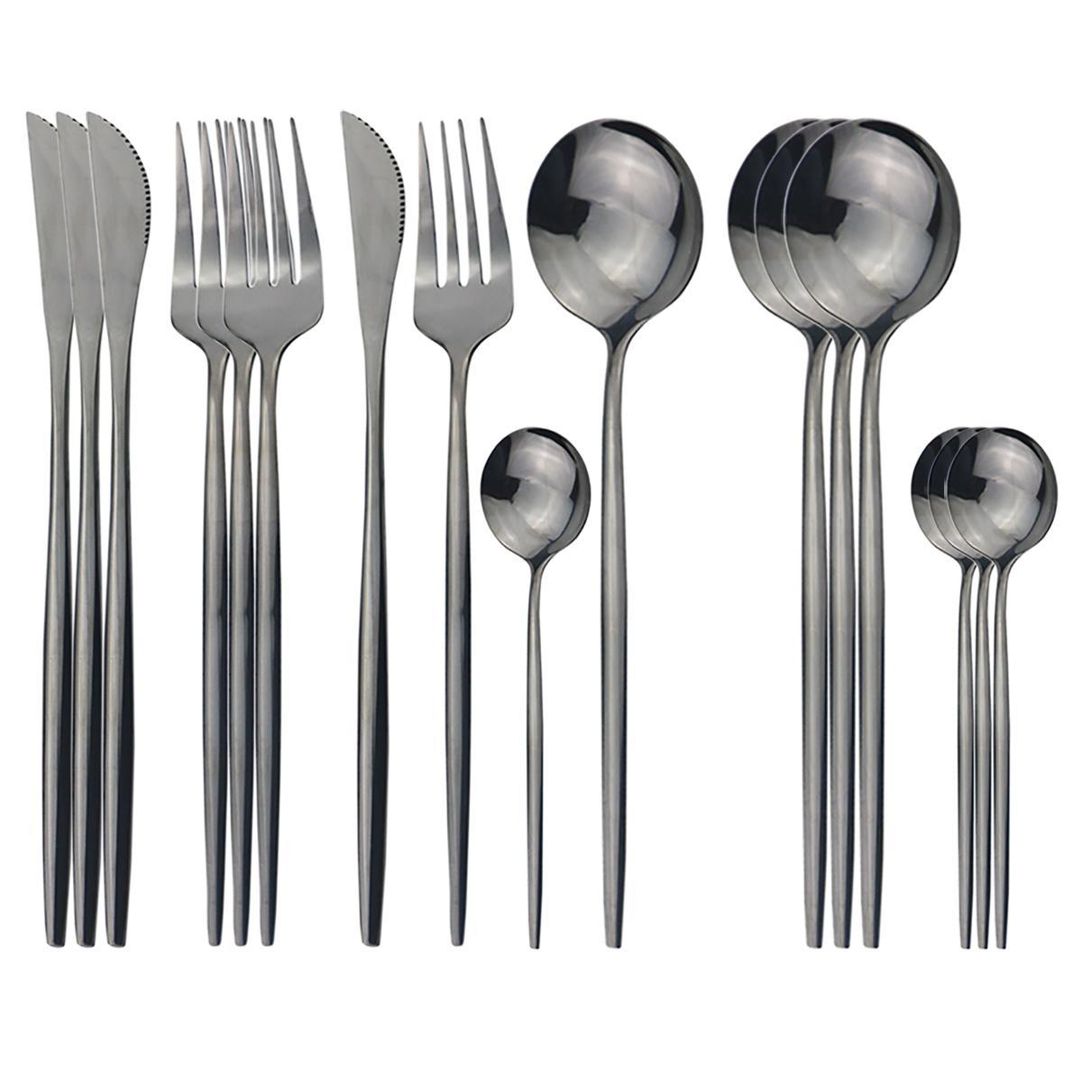 16pcs / Ensemble de vaisselle Ensemble de couverts noirs Ensemble de couverts en acier inoxydable 304 couteaux de couverture de fourchette cuillère cuillère coiffe de cuisine de cuisine argenterie z1202