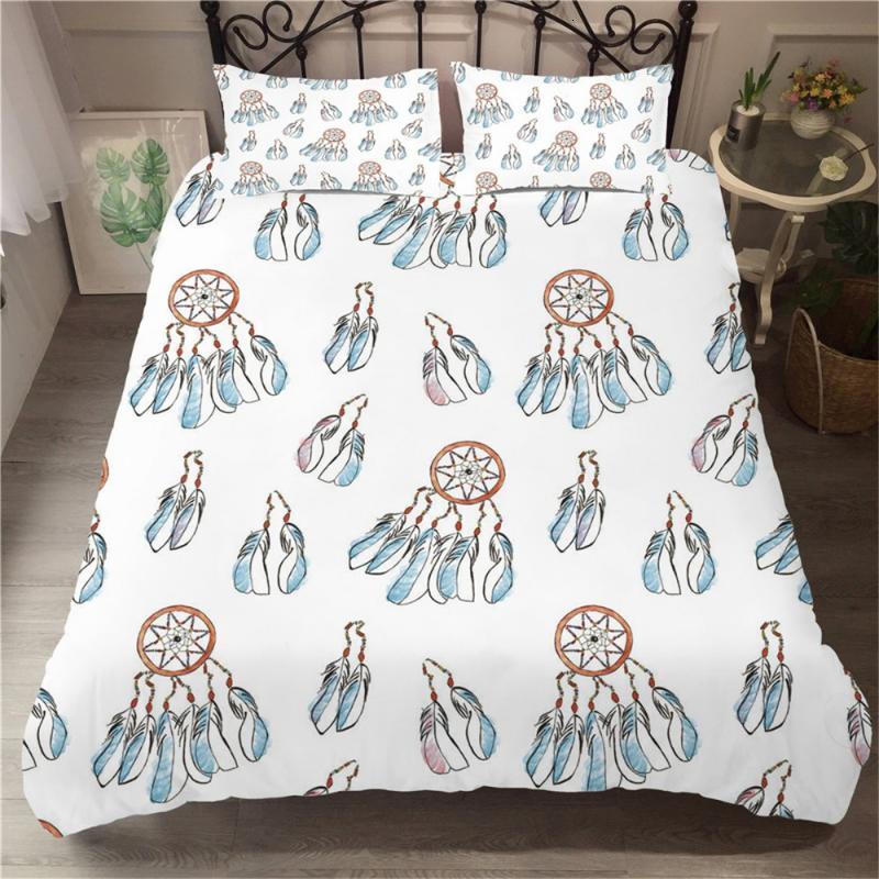 2/3 Adet Bohemian Yatak Seti Mandala Tüyü Nevresim Renkli Ev Özel Yatak Yorgan Kapağı Mikrofiber Kumaş Yatak Örtüsü