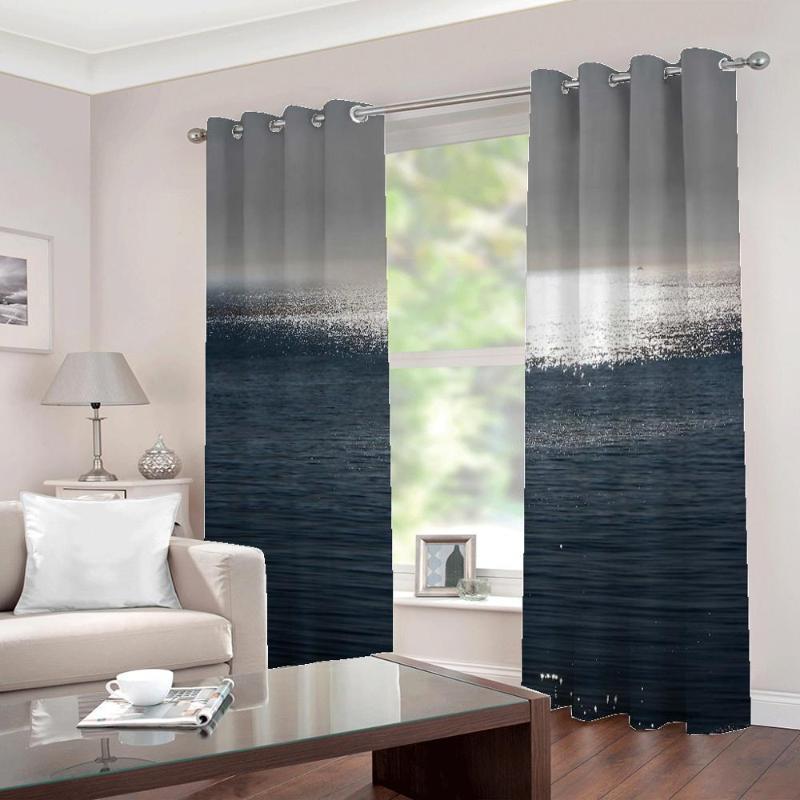 Personalizado de cualquier tamaño en el mar Nature Landscape Cortinas 3D Imprimir foto para la sala de estar Dormitorio Dormitorio Blackout Decor Decor