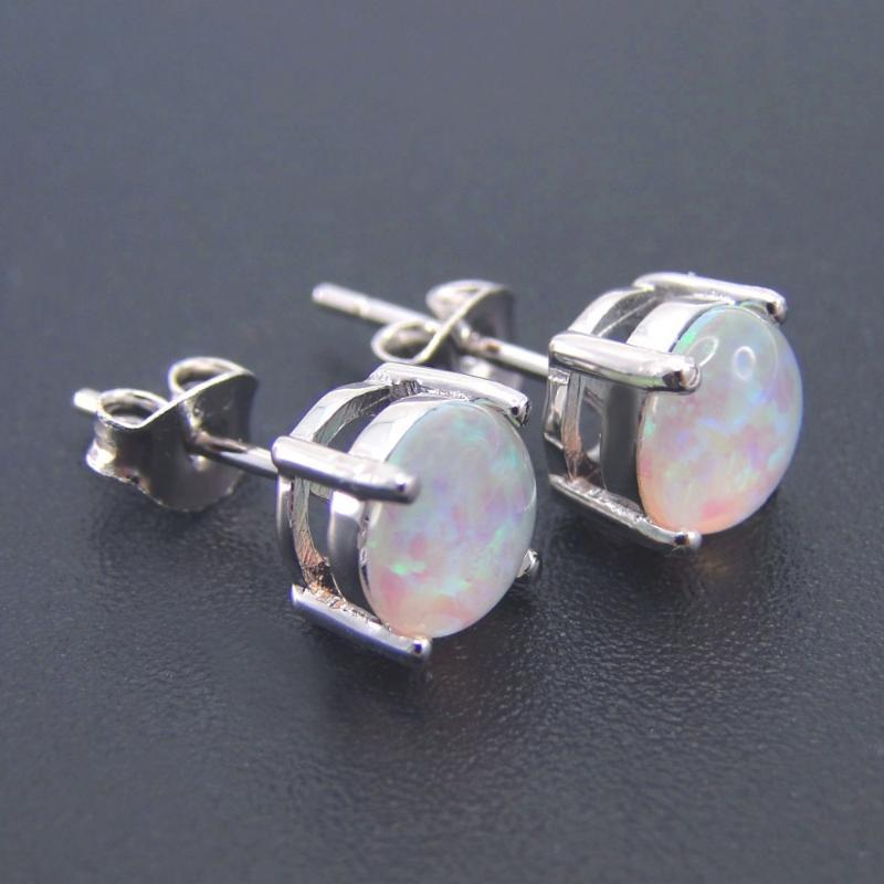 Feine Ohrring Frauen Ohrringe 6.9mm x 6.9mm Opal Schmuck Ohrstecker 100% 925 Sterling Silber für Mädchen Hochzeit Geschenk