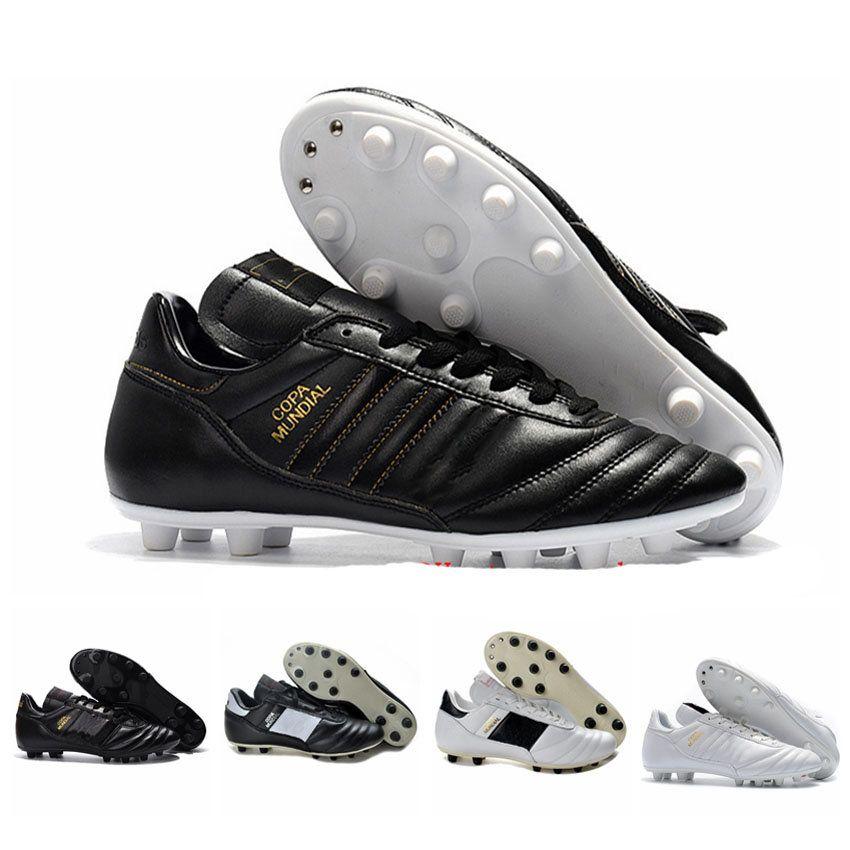 Erkek COPA Mundial Deri FG Futbol Ayakkabı İndirim Futbol Cleats 2015 Dünya Kupası Futbol Çizmeler Boyutu 39-45 Siyah Beyaz Turuncu Botines Futbol