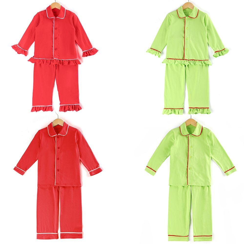 детские PJs девочки пижамы пижамы оборкой 100% хлопка кнопки вверх твердых мальчиков рождественские пижамы Y200704
