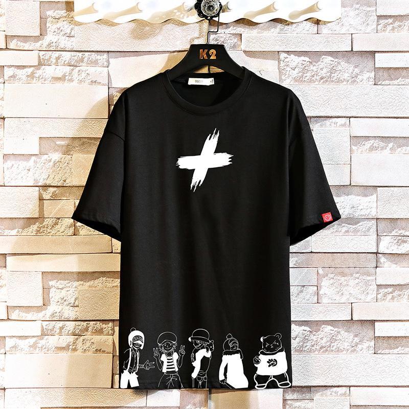 Короткая футболка с коротким рукавом мужчины 2021 летние белые черные футболки The Tees Hip Hop Punk Rock модная одежда негабаритна M-4XL 5XL o Schelly62a