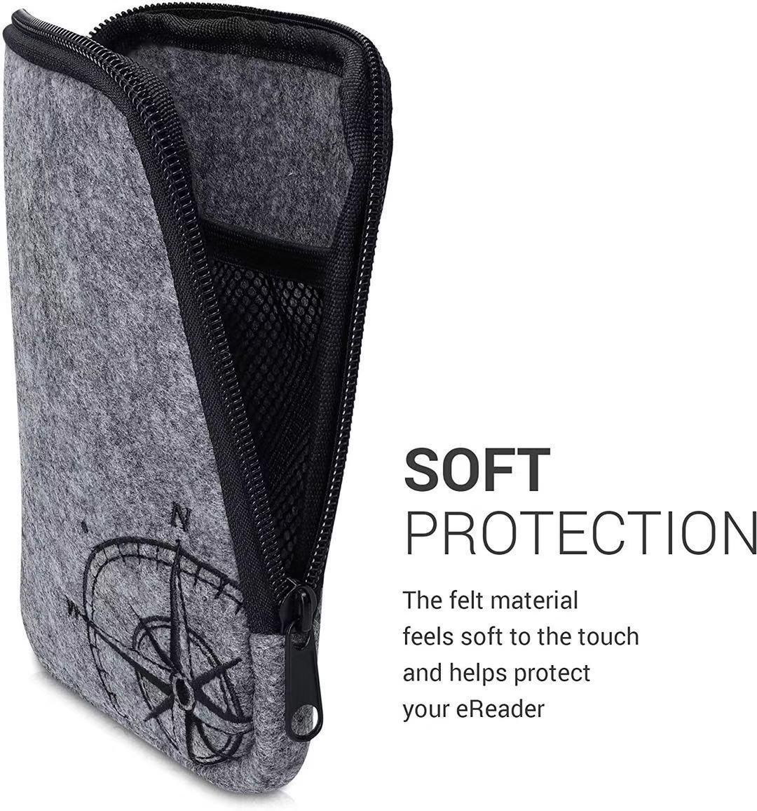 PQWWDX Felt e-reader bag-universal e-book cover with zipper-light gray Universal e-book cover with zipper opening and closing-navigation com
