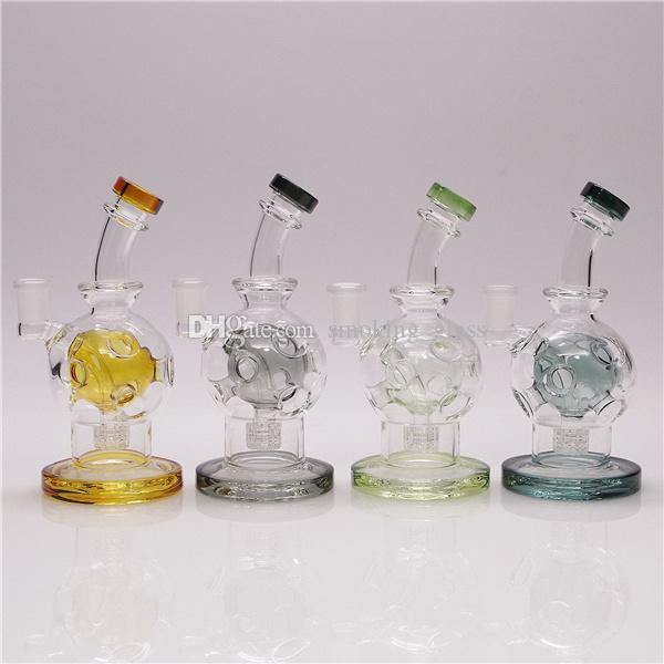 Glass Bong Waterpipe Hookah Recycler Aplogas de Óleo com Percolor Colorido Exclusivo 7in Altura 14mm Tigela e 1 Qeutartz Banger para presente
