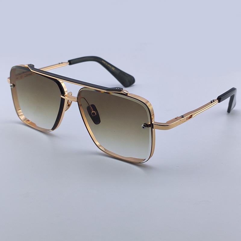 Erkekler Vintage Marka Tasarımcısı Sunglass Lüks Metal Altın Çerçeve Kare Moda Kadın Tasarımcı Çerçevesiz Adam Kare Tutum Güneş Gözlüğü Gözlük