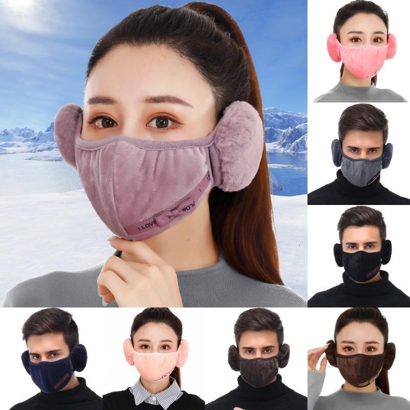 DHL Nakliye Kış Sıcak Yüz Maskeleri Kadın Erkek Kulak Isıtıcı Anti Toz Rüzgar Geçirmez Peluş Ağız Kapak Polar Pamuk Koruma Maskesi KIMTER-L737FA