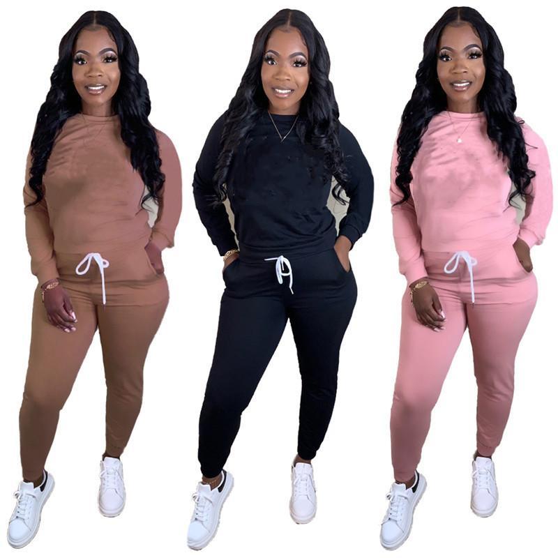 Donne abiti sportivi a maniche lunghe abiti camicia pantaloni da due pezzi set maglietta maglietta maglietta stretta sportiva sportivo tuta pullover pantaloni vendita calda klw5146