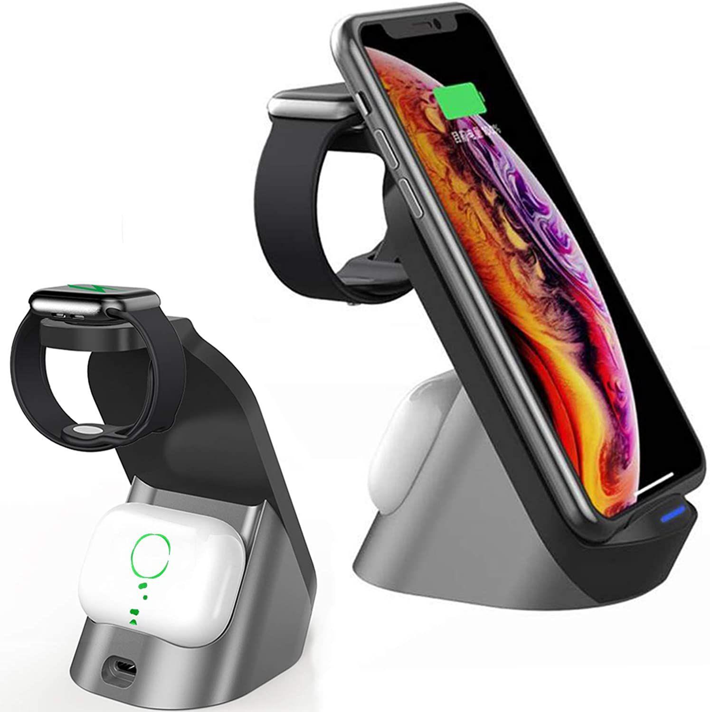H18 3in1 Qi Kablosuz Şarj 15 W Eşzamanlı Hızlı İPhone Huawei Şarj Huawei Samsung Cep Telefonu Kulaklıklar Saatler Kablosuz Şarj İstasyonu