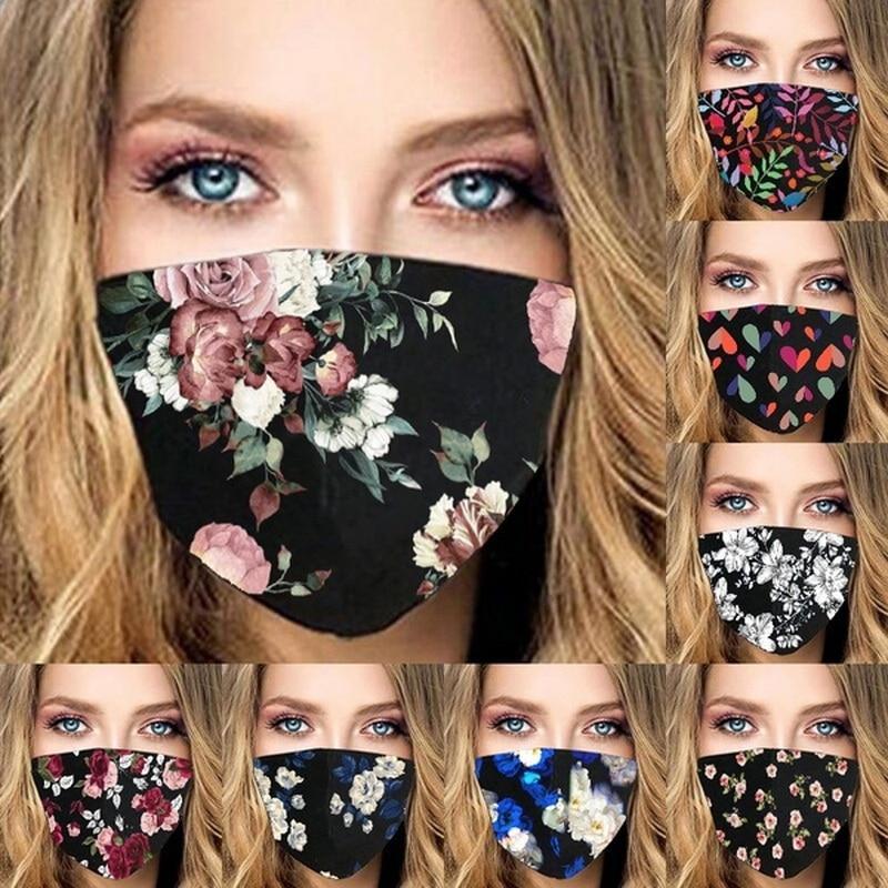 Blumen Gedruckt Gesichtsmaske Hautpflege Gesicht Mode Erwachsene Wiederverwendbare Schützen und abnehmbare Eye Cosplay Mask1PC
